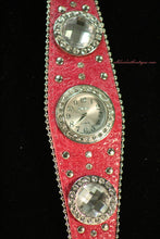Pink/White Silver Studs & Clear Rhinestones | Leather Band with Buckle Clasp