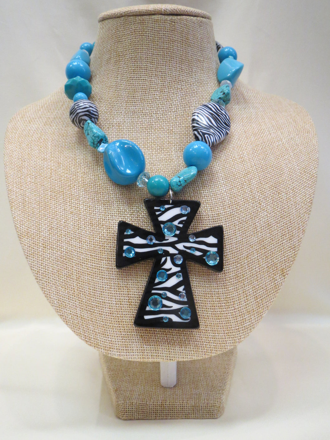 ADO Zebra Turquoise Cross Necklace | All Dec'd Out