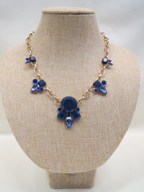 ADO | Blue Crystal Gold Chain Necklace - All Decd Out