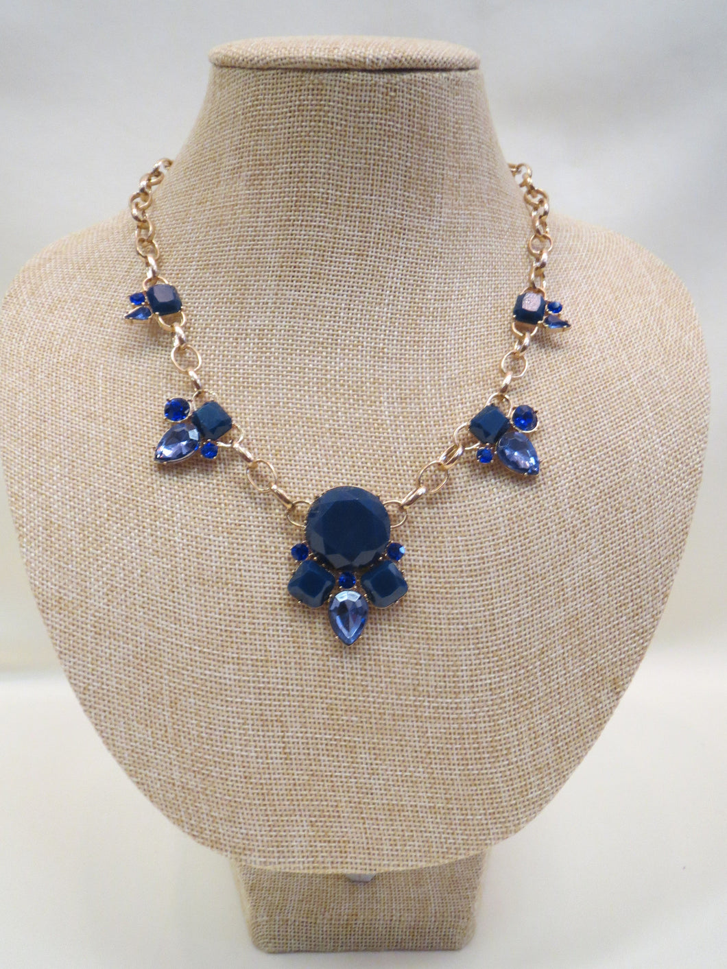 ADO Blue Crystal Gold Chain Necklace | All Dec'd Out