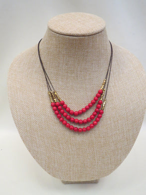 ADO | 3 Layer Red & Gold Beaded Necklace on Cords - All Decd Out
