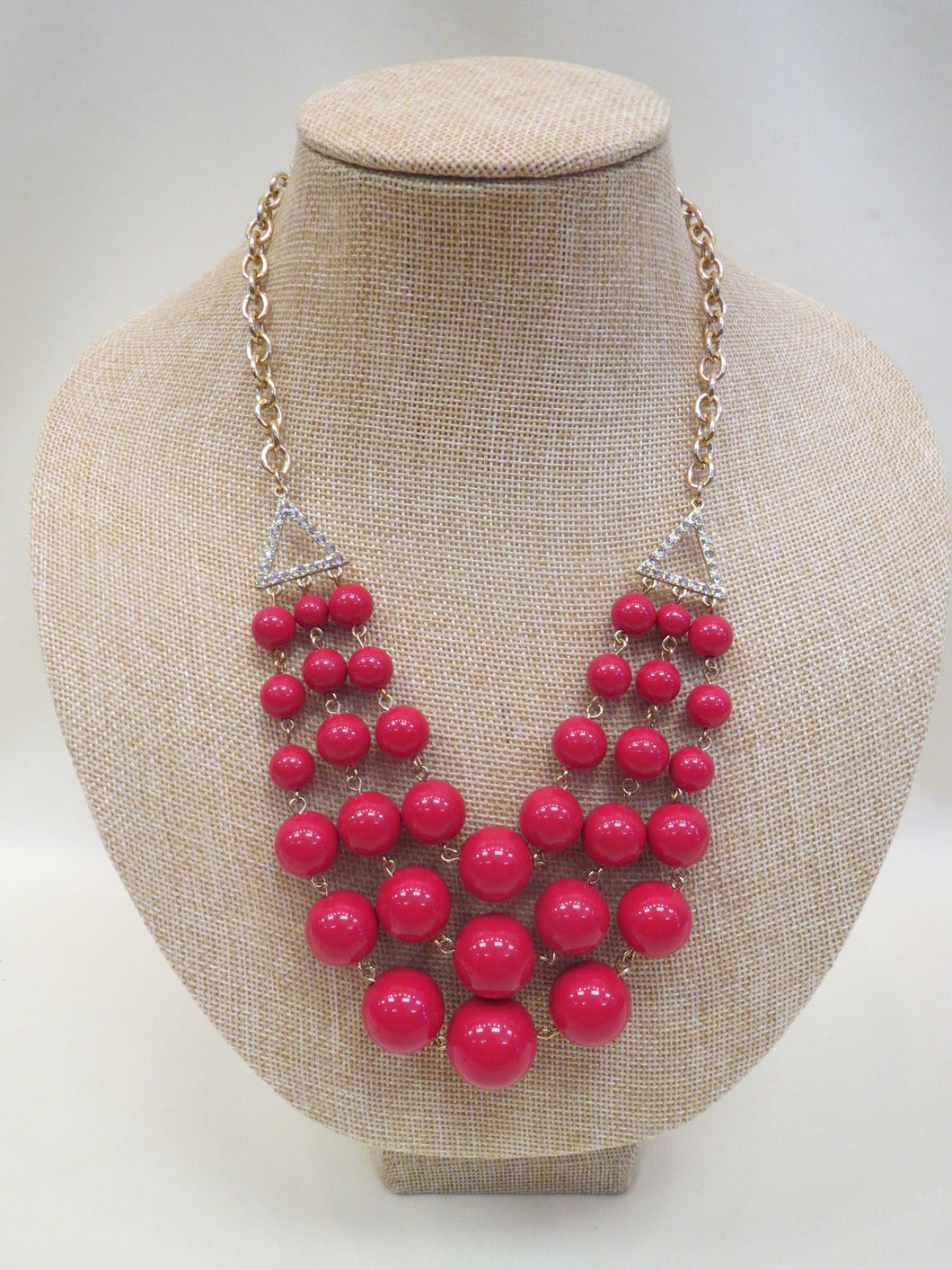 ADO | 3 Layer Red Beads & Crystal Triangles - All Decd Out