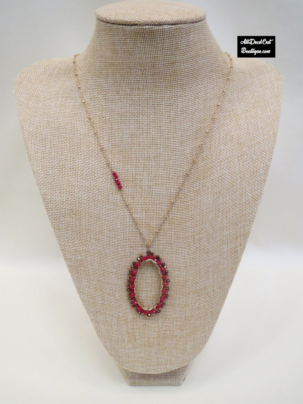 ADO | Long Red & Gold Necklace with Oval Pendant