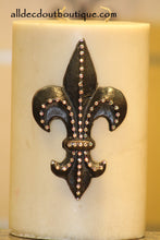 DECORATIVE CANDLE PIN EMBELLISHED Light Pink Crystals Large Fleur De Lis