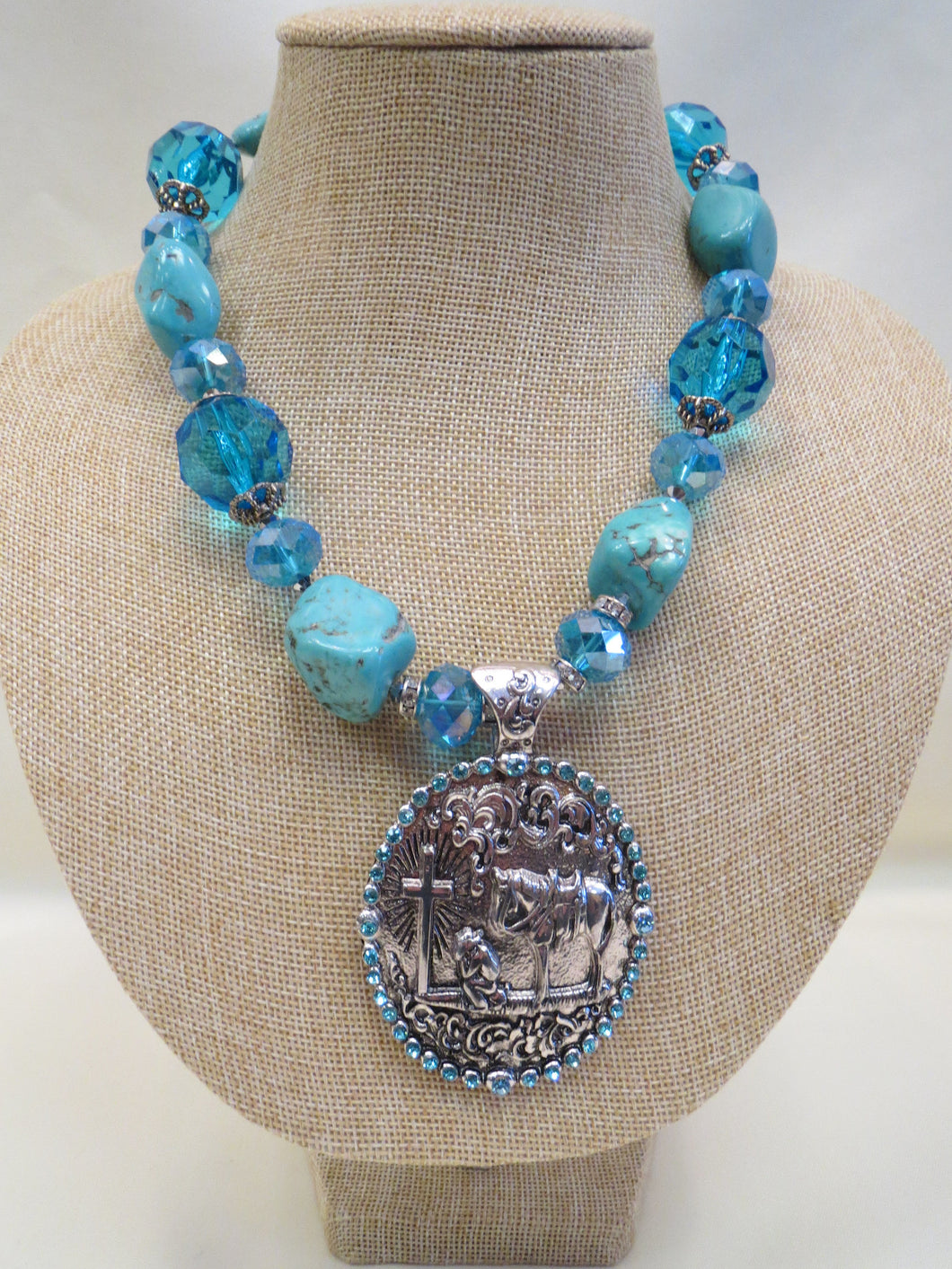 Turquoise Beaded Necklace w/Cowboy Cross Necklace | All Dec'd Out