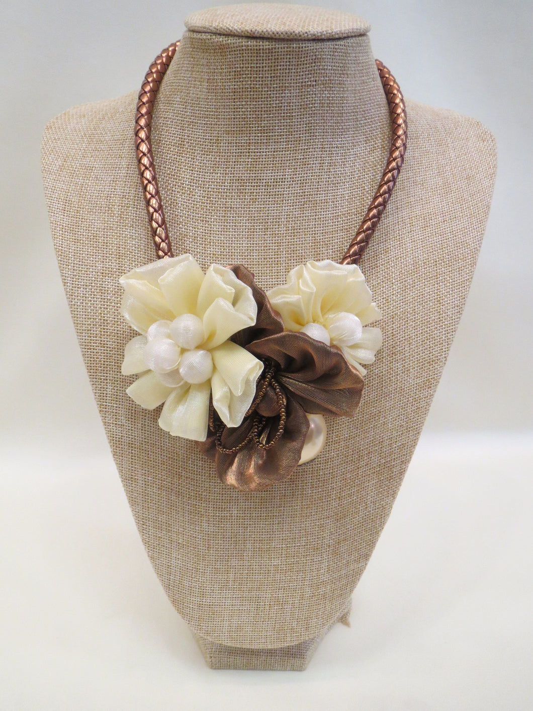 ADO | Fabric Flower Pearl Necklace - All Decd Out