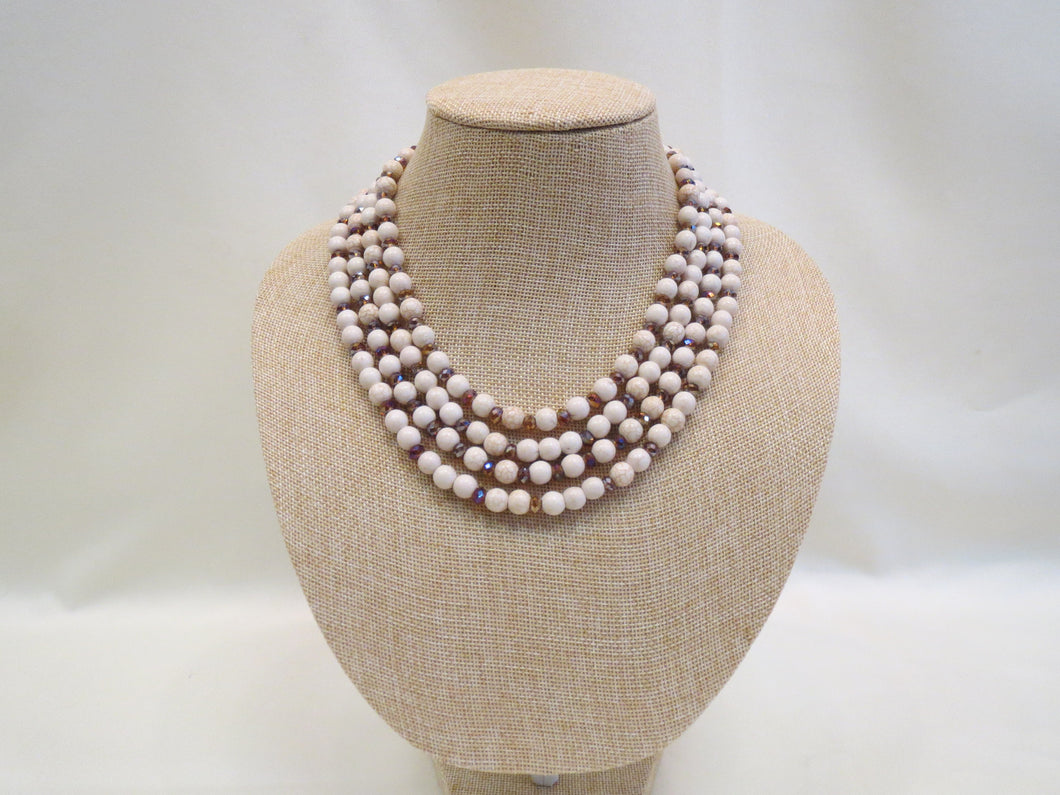 ADO Ivory & Iridescent Beaded Necklace | All Dec'd Out