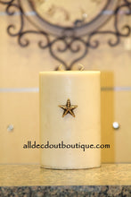 DECORATIVE CANDLE PIN EMBELLISHED  Gold Crystals Extra Small Star