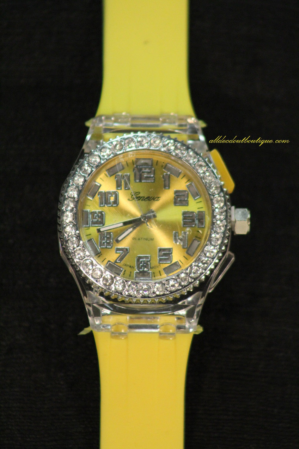 Yellow/Yellow Clear Rhinestones Large Face | Silicone Band with Clasp