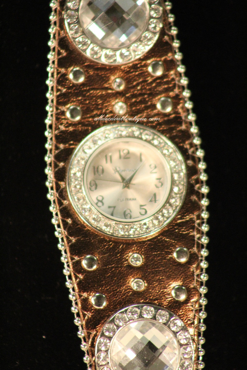Brown/White Silver Studs & Clear Rhinestones | Leather Band with Buckle Clasp