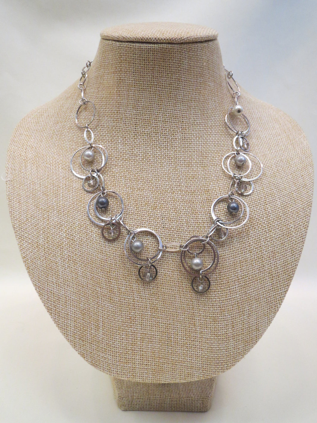 ADO Silver Linked Necklace with Pearls | All Dec'd Out