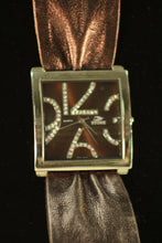 Ladies Leather Asst Watches Brown/Brown Clear Rhinestones Leather Band with Buckle Clasp