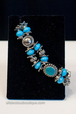 ADO | Silver & Turquoise Beaded Stretch Bracelet