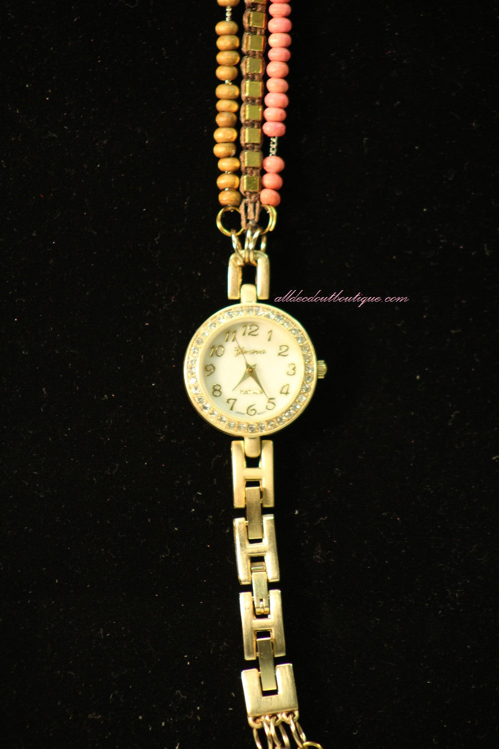 Gold/White Brown & Pink w/ Crystal | Metal Band w/ Clasp