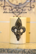 DECORATIVE CANDLE PIN EMBELLISHED Clear Crystals Extra Large Fleur De Lis