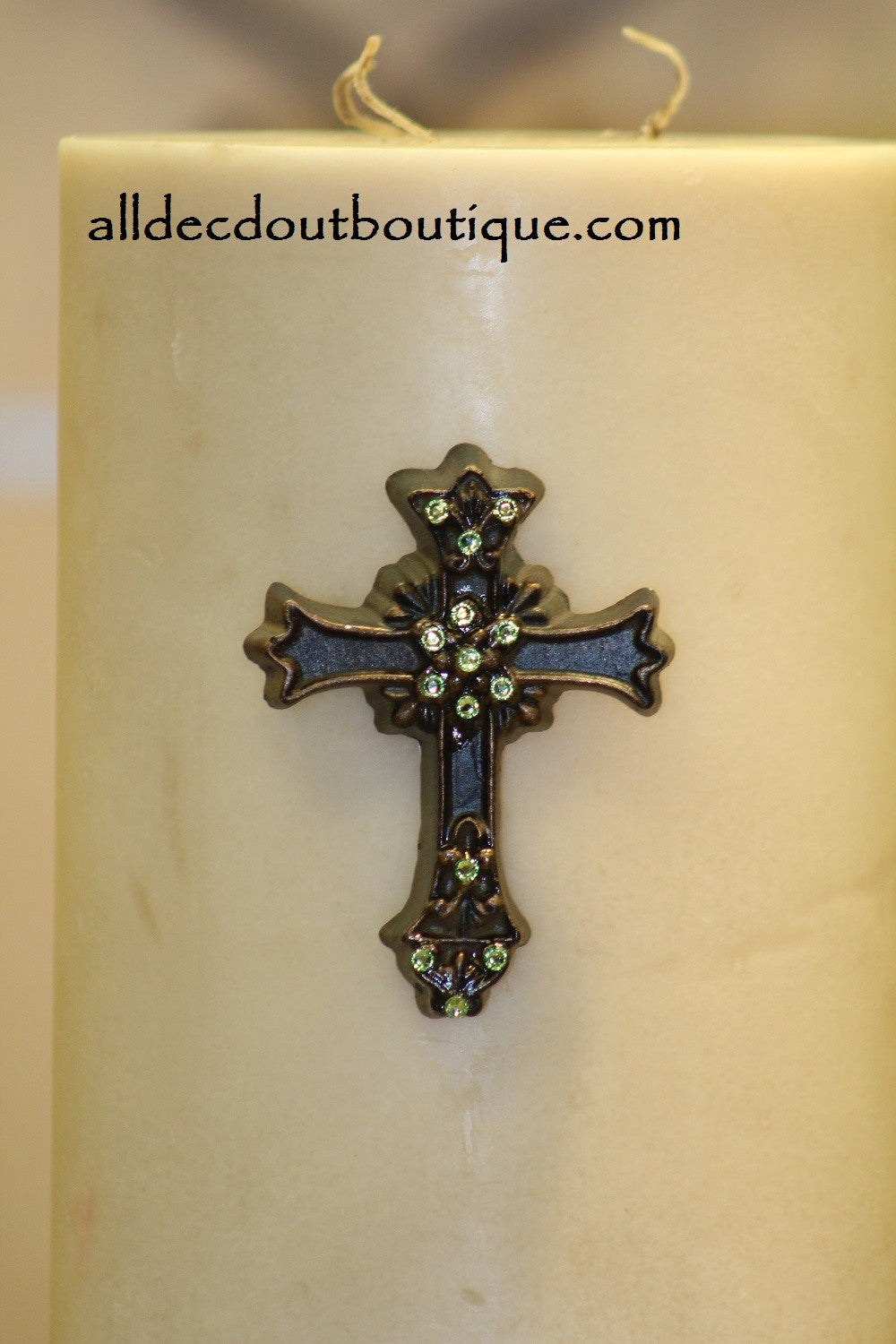 DECORATIVE CANDLE PIN EMBELLISHED Peridot Crystals Medium Cross