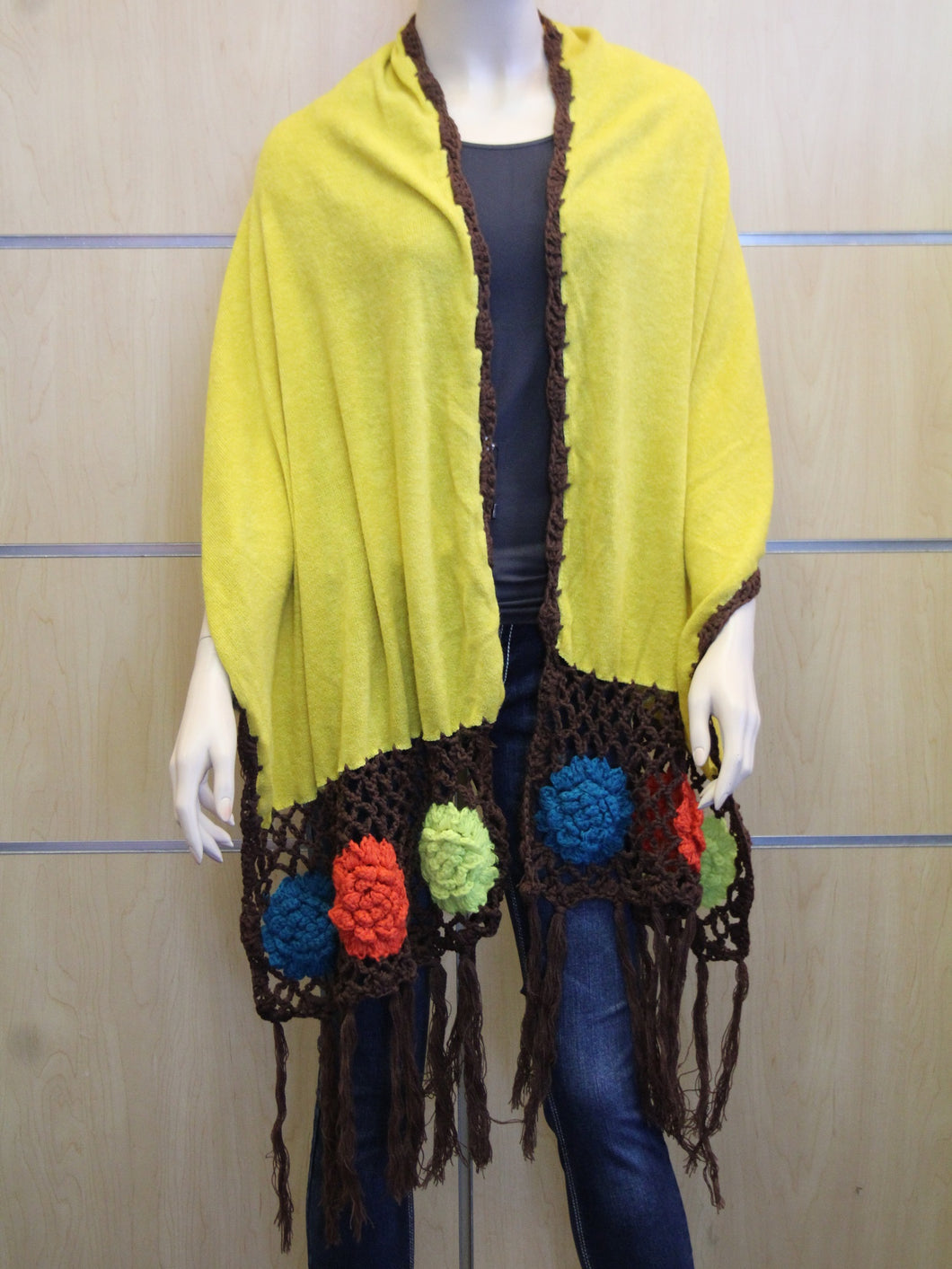 Treska | Wrap Sweater Scarf Yellow with Crochet Flowers