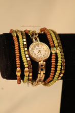 Gold/White Brown & Pink with Crystals Metal Band with Clasp