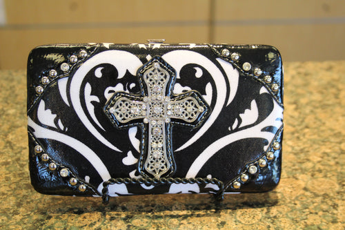 ADO | Bling Cross Damask Print Clutch Wallet Black