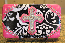 ADO | Bling Cross Damask Print Clutch Wallet Pink - All Decd Out