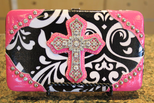 ADO | Bling Cross Damask Print Clutch Wallet Pink