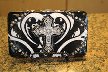ADO | Bling Cross Damask Print Clutch Wallet Black - All Decd Out