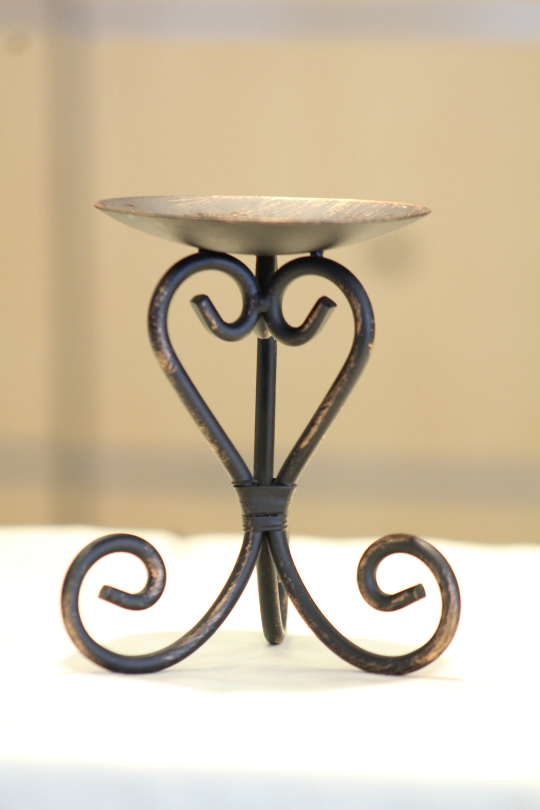 Candle Holder | Small Metal Scroll Candle Holder Bronze