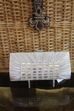 ADO | Crystal Clutch Purse/Wallet Rectangle Silver - All Decd Out