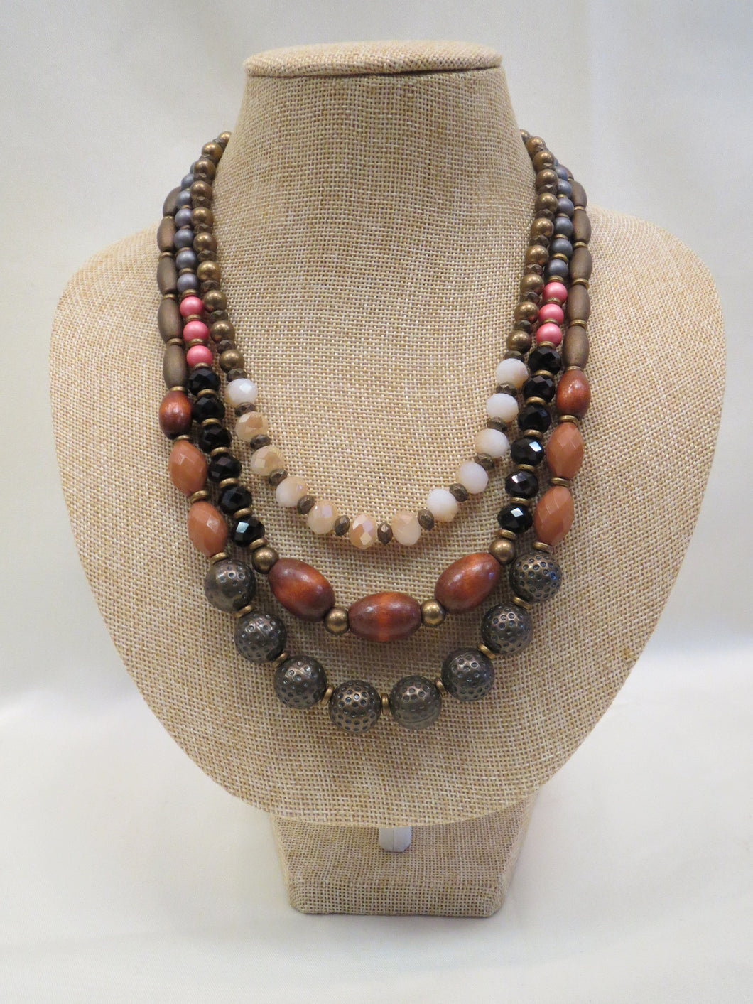 ADO Wood Beaded 3 Strand Necklace | All Dec'd Out