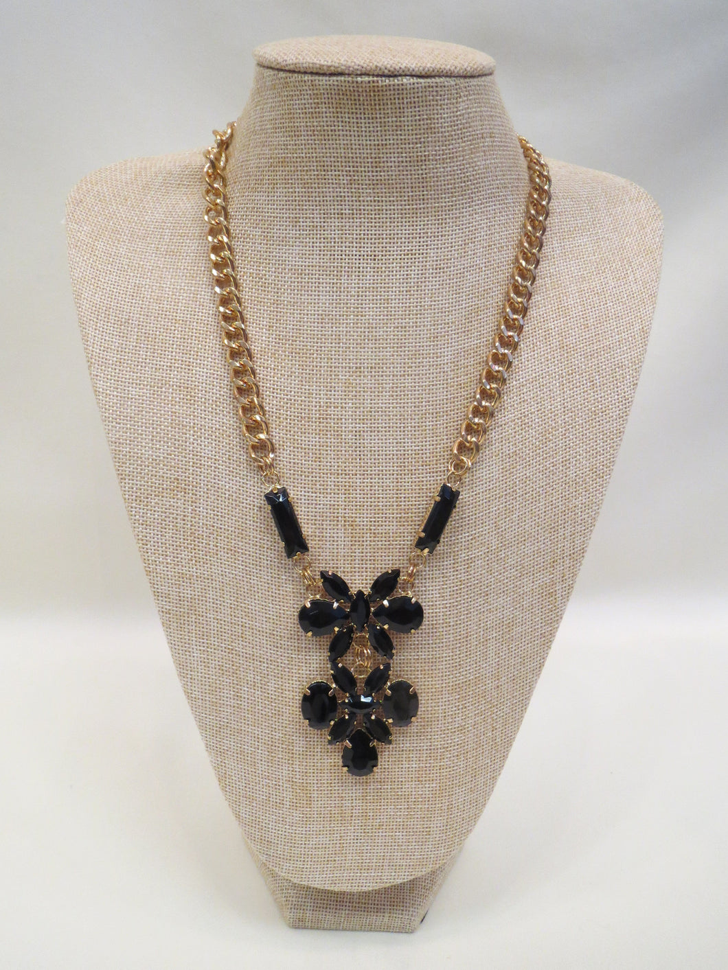 ADO Gold Chain Necklace with Black Stone Design   All Dec\'d Out ...