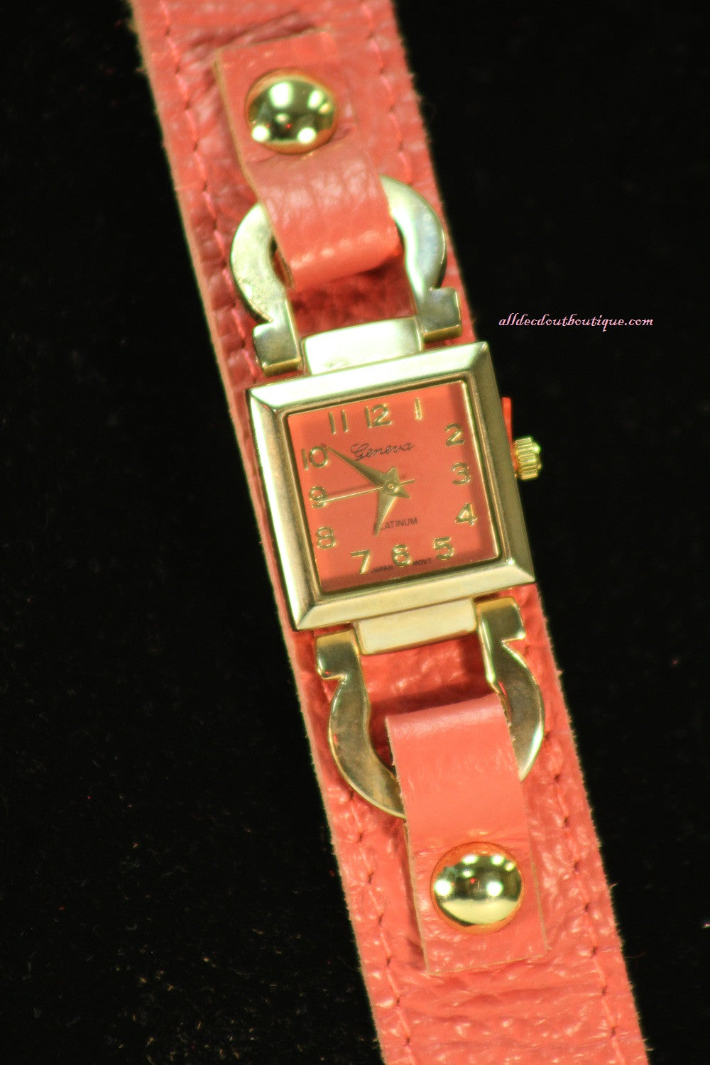 Pink/Pink Buckle Straps | Leather Band with Button Clasp