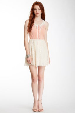 Flying Tomato | Lace Combo Racer Back Mini Dress - All Decd Out