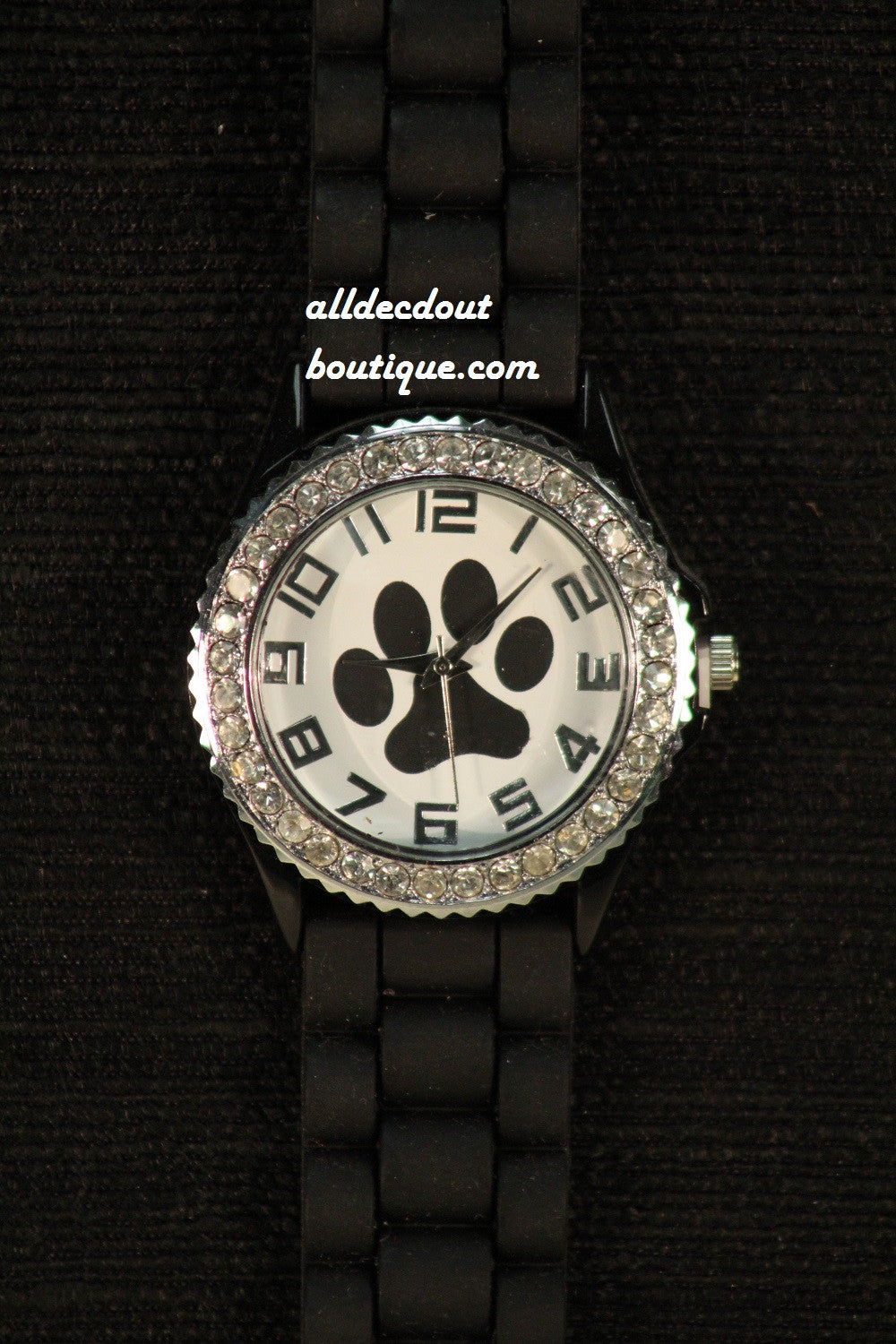 Black/White Black Paw Clear Rhinestones | Silicone Band - All Decd Out