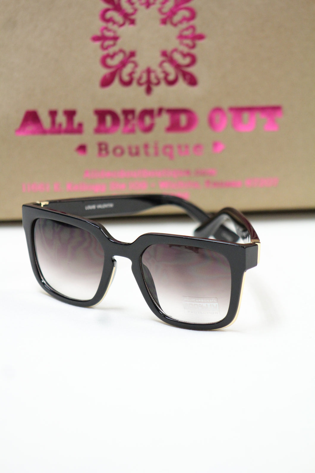 ADO | Square Retro Sunglasses Black
