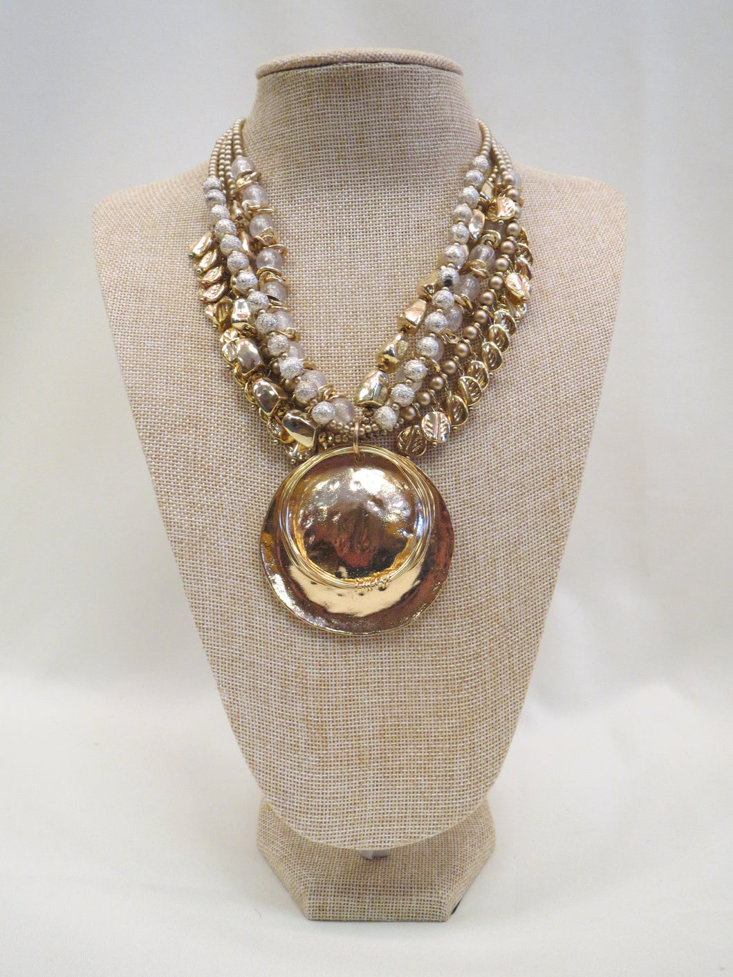 Treska | Gold Pendant Beaded Necklace - All Decd Out
