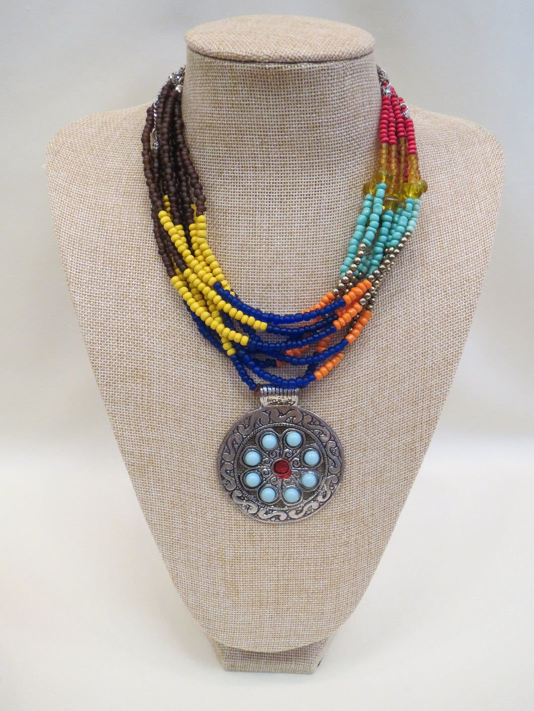 Treska | Multi Color Beaded with Pendant Necklace - All Decd Out