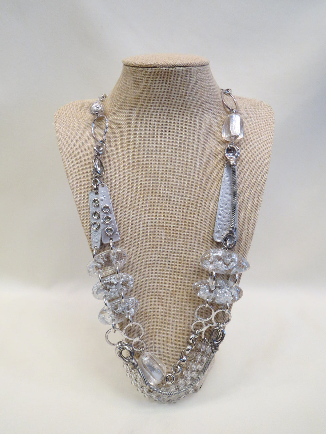 Treska Silver & Clear Chunky Statement Necklace | All Dec'd Out