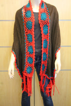 Treska | Wrap Sweater Scarf with Crochet Trim Brown & Red