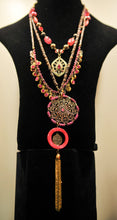Treska | Pink & Brass Gold Layer Necklace Long - All Decd Out