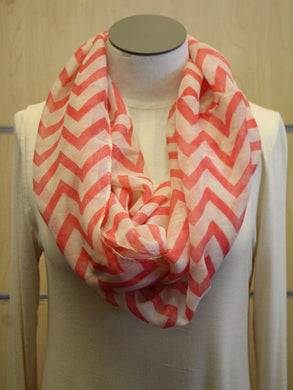 ADO | Infinity Coral and White Chevron Scarf - All Decd Out