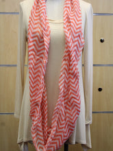 ADO | Infinity Red/Orange and White Chevron Scarf