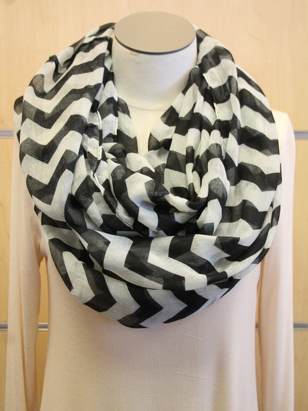 ADO | Infinity Black and Mint Tint Chevron Scarf - All Decd Out
