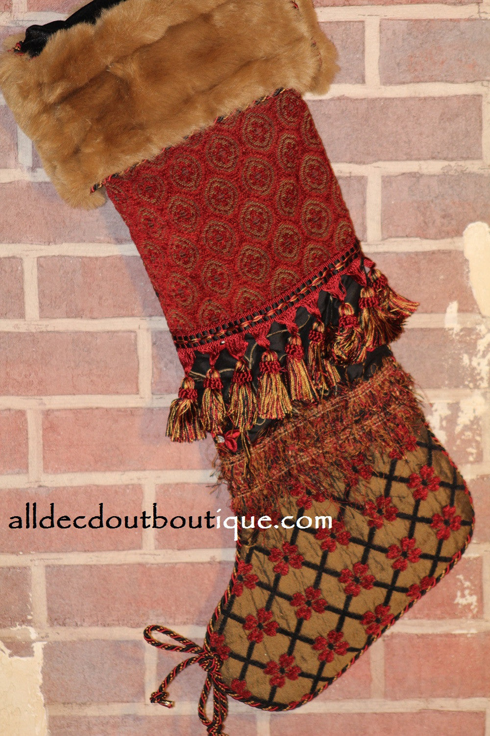 Holiday Stocking Black/Red/Gold Floral 27