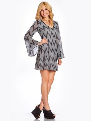 2 Tee Couture | Black & White Chevron Dress - All Decd Out