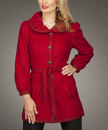 Firmiana | Button Up Coat Red - All Decd Out