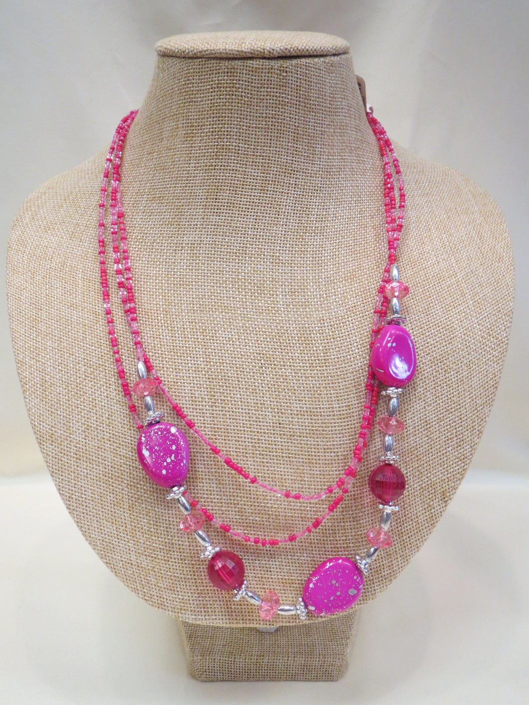 ADO Pink & Silver Layer Fashion Necklace | All Dec'd Out