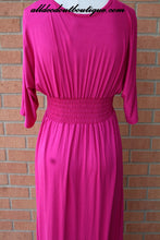 Voll | Long Bright Fuchsia & White Design Maxi Dress