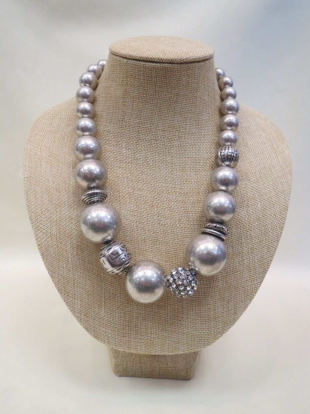 ADO Silver Ball Necklace with Rhinestones | All Dec'd Out