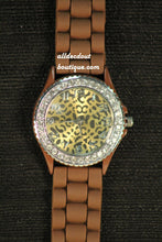 Brown/Gold Jag Print Clear Rhinestones | Silicone Band - All Decd Out