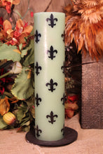 Pillar Candle Fleur De Lis Green Decor Candle
